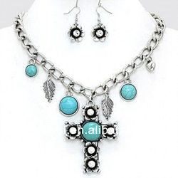"""""""RODEO""""Cowgirl Printed Wood Cross Necklace Set"""