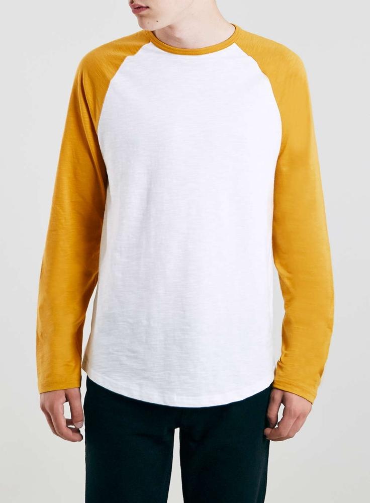 Yellow white slub long sleeve raglan men basic plain men t for Plain yellow long sleeve t shirt
