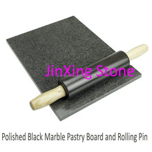 Black Marble Dough and Pastry Baking Rolling Pin with Wooden Base New