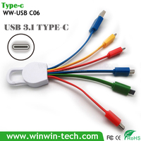 New Creative usb multi charge cable Portable 5 in 1 Multi USB Charger Data Cable Mobile Cable