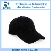 Black polyester fitted baseball cap for men