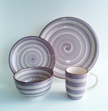 Purple striped 16pcs ceramic dinnerware, henan ceramic factory directly wholesale stoneware dinner set