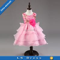 pink color chiffon dress patterns kids wear flower girls dresses
