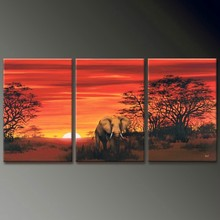 Africa prairie sunset 3 panel oil paintings on canvas home decoration