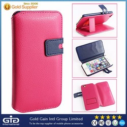 PU smartphone Wallet Leather Case for Apple for iPhone 6 on Sale with Litchi pattern