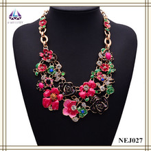 Fashion Jewelry Has Three Coulours High Quality Gold Plated Choker Flower Necklace For Lady
