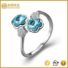 2015 vogue jewelry wedding rings,real silver rings with crystal for sale