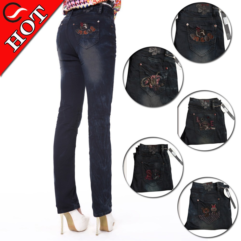 Wholesale Hot fashion jeans back pocket embroidery designs for womens straight leg jeans in snow ...