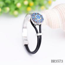 Fashion zinc alloy snap bracelet,handmade leather rope 18mm snap bracelet