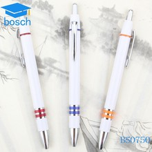 Promo white color plastic ball pens with printed logo for students