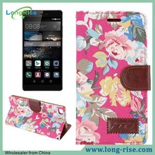 Fashion Flower Cloth Skin Leather Wallet Stand Flip Case for Huawei P8