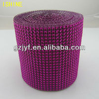 top fashion Bling bling Ornament 24row sew on plastic rhinestone mesh Trimming roll for garment decoration
