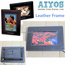 2015 Hot Stylish Leather Digital Photo Frame User Manual in English Auto Play Music Video Photo Good For Advertising and Gift