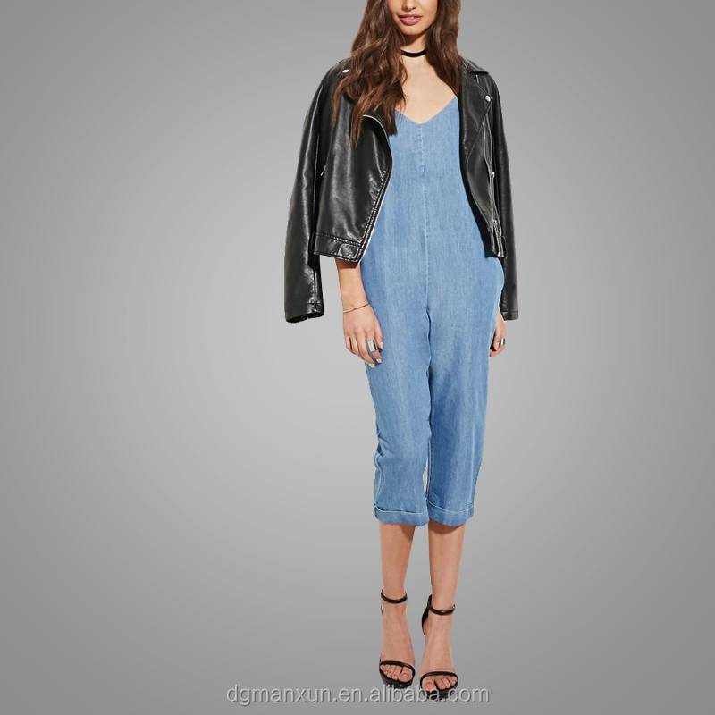 Custom Made Cami Jumpsuit Jeans Casual Loose Chambray Jumpsuit 2016 New Fashion Apparel (2).jpg