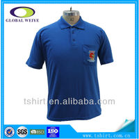 Men cheap short sleeve blue embroidery polo shirt