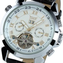 Jargar Gent White Tourbillon Date Elegant Aviator Automatic Mechanical Watch WM184