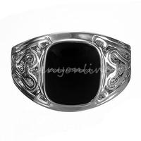 Top Quality Noble Fashion Men Black Square Onyx Silver Stainless Steel Fancy Finger Ring Punk Jewelry Party Wholesale Price