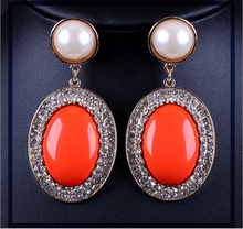 free sample free shipping latest model fashion drop design of pearl bead landing round shaped earrings