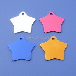 Different Color Five Star Design Dog Tags Decoration Jewelry Tags
