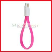 USB to Micro USB Data / Charging Magnetic Flat Cable for Samsung / HTC / Xiaomi - Deep Pink + White