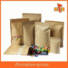 Factory sales ziplock stand up kraft paper bag for food packing