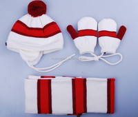 Wholesale new design kids knitted hat scarf sets ladies scarf hat and gloves sets pom pom winter beanie hat scarf set