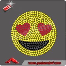 Bling Crystal Heart Eyes Rhinestone Emoji Iron on transfer