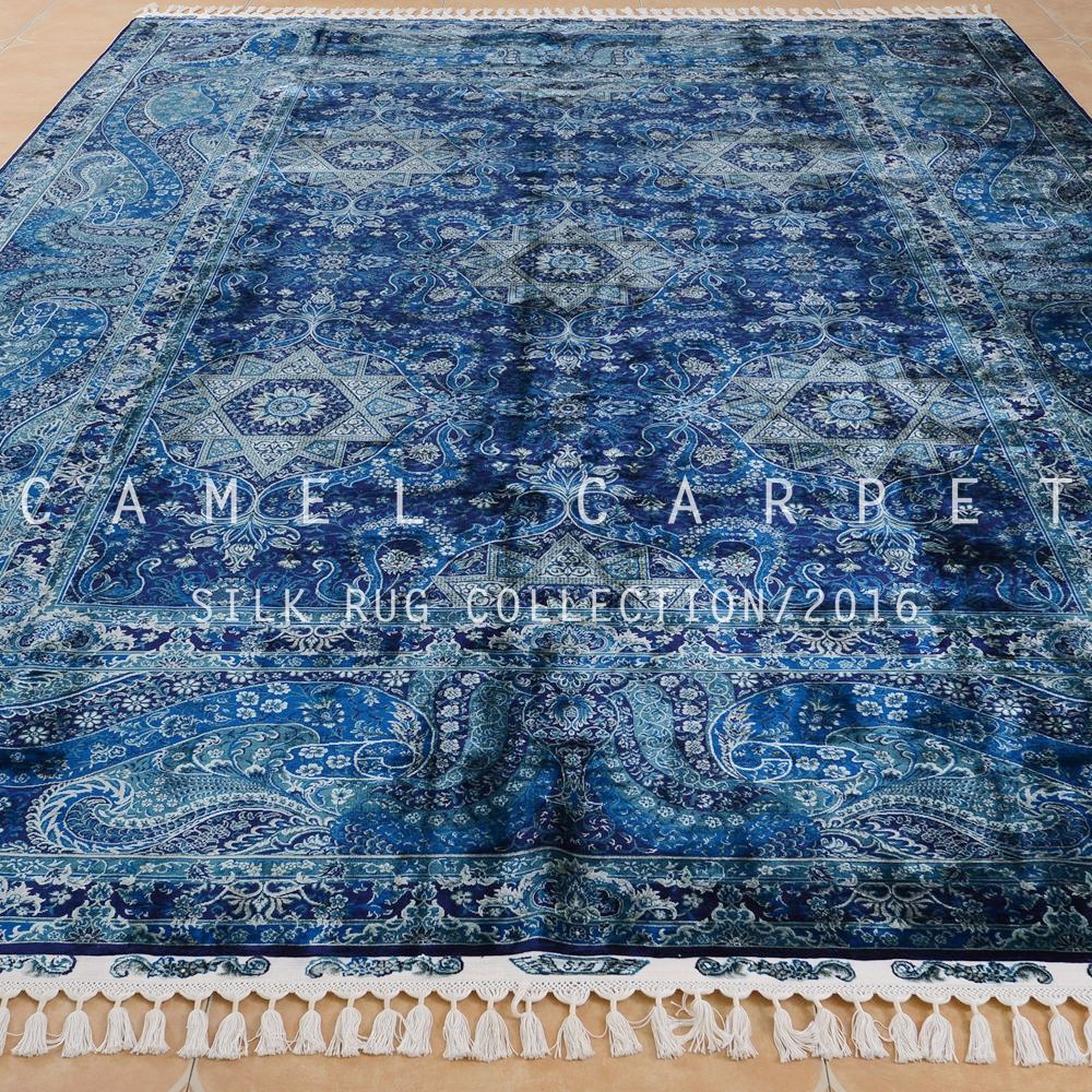 designer tapis la main belle soie turc tapis nou s la main bleu zone grand oriental tapis. Black Bedroom Furniture Sets. Home Design Ideas