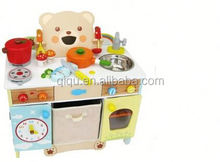 2015 New designed high quality multifunctional Promotion Kid Pretend Play Wooden Toy Kitchen QQ-MT002