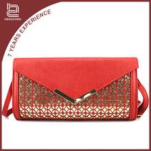 Handcee Chinese Red PU Ladies Shoulder Bag For Desinger Travelling Bag