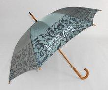 Economic useful rain straight umbrella wooden handle