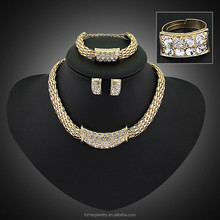 African Fan 18k Gold Jewelry Sets Zircon For Women Wedding Luxury Statement Necklace And Earring 4 PCS Set SKJT0189