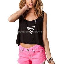 2015 New OEM Cheap Womens Sexy Crop Top Punk Heart Cut Out Back Short T-shirt Crew Sleeveless Tank Tops