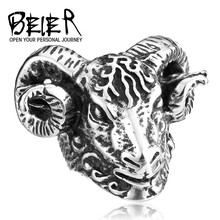 New Exclusive Sale Buffalo Head Ring Stainless Steel Heavy Metal Big Animal Jewelry Ring for Man and Boy BR8-159