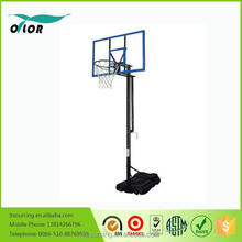 Good price best quality height adjustable movable portable 10' basketball stand with blue glass backboard