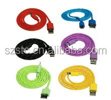 Mini-USB USB Type and Mobile Phone Use 2M 6 Feet Multi Color Metal Shell Fabric Woven Braided micro USB Charger Cable