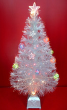 Transparent Leaf Fiber Optic Christmas Trees with Balls and Stars