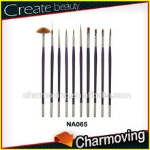Charmoving Hot Sale 10 pcs professional Nail Art Brush For Nail Artister