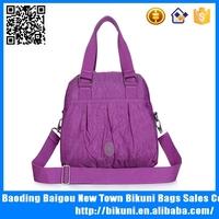 Plain design wash wrinkle fabric handbags for women beach bag