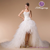 HM96863 Heavily Beaded Sweetheart Bodice Tulle Ruffle Sexy Short Front Long Back Wedding Dress with Long Train