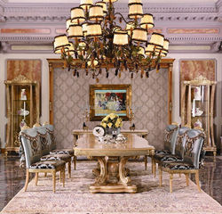 Luxury French Wooden Dining Table Set/European Claissc Marquetry Dinging Room Furniture/Empire Dining Table With 8 & 12 Chairs