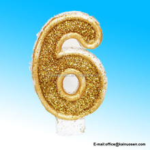 Number 6 Numerals Birthday Party Cake Candle Glitter Gold White