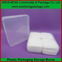 Low MOQ colorful plastic facial puff container