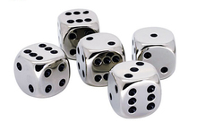 Wholesale 6 sided funny nimi laser colored dots metal and glass dice