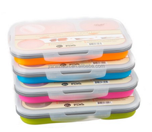 Liokit TM 3-Compartment Food Container, Silicone Collapsible Lunch Box, Bento Box Microwave and Dishwasher Safe