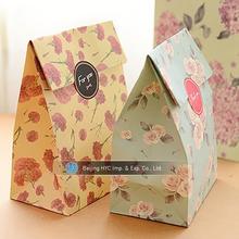 custom logo kraft brown paper gift bag printing with window Flat Bottom Brown Kraft Paper Bags No Handles