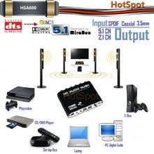 Original manufacturer 5.1 digital audio decoder/hdmi to 5.1 analog converter