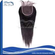 Virgin straight Indian hair cheap 100% human hair lace closure free parting Swiss lace closure