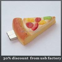 oem 8GB pizza shape customize pvc usb flash drive