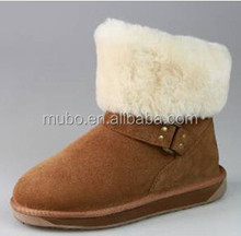 Buckle Design Woman Sheepskin Boot Fur, Snow boot For Winter